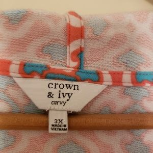 crown & ivy Tops - Crown and Ivy Curvy Turquoise and coral hoodie 3x